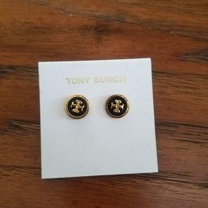 🆕️Tory Burch logo black and gold earring